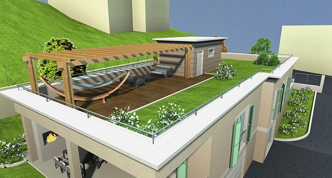 Giardino sul tetto affordable tetto verde di una casa - Giardino sul tetto ...